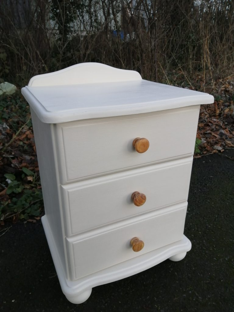 small painted chest of three drawers