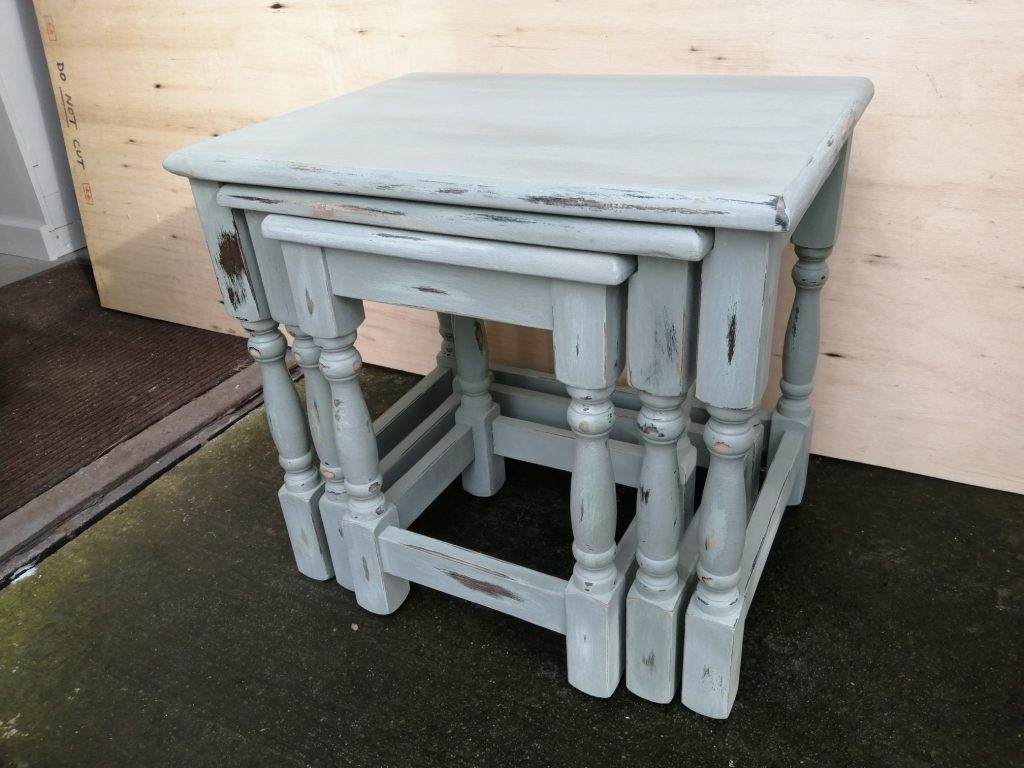 nest of three painted tables