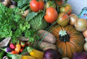 a colourful display of vegetables on a table