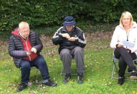 Three people seated on chairs beneath an old apple tree